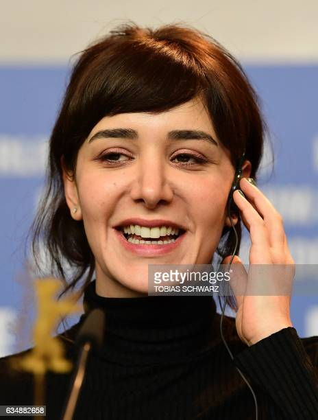 Turkish actress Algi Eke attends a press conference for the film 'Kaygi' screened in the Panorama section of the 67th Berlinale film festival in...
