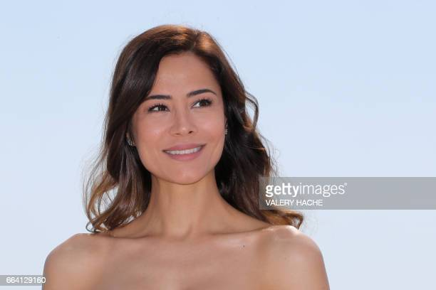 Turkish actress Ozlem Conker who stars in the series 'The last emperor' poses during a photocall as part of the MIPTV event on April 3 2017 in Cannes...