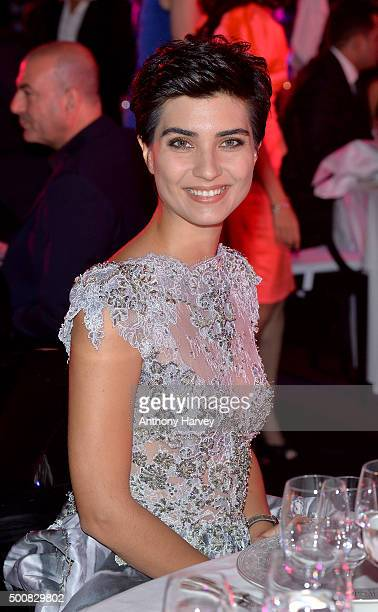 Turkish actress Tuba Buyukustun poses during the IWC Filmmaker Award Night 2015 at The One Only Royal Mirage on December 10 2015 in Dubai United Arab...