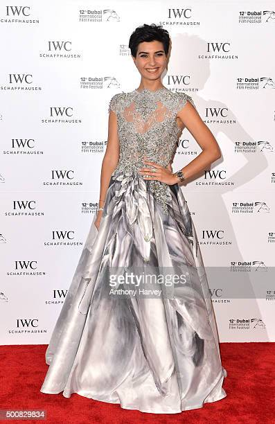 Turkish actress Tuba Buyukustun poses during the IWC Filmmaker Award Night 2015 at The One Only Royal Mirage on December 10 2015 in Dubai United Arab...