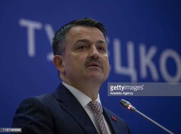 Turkish Agriculture and Forestry Minister Bekir Pakdemirli speaks during Turkey-Belarus Business Forum, in Ankara, Turkey on April 16, 2019.