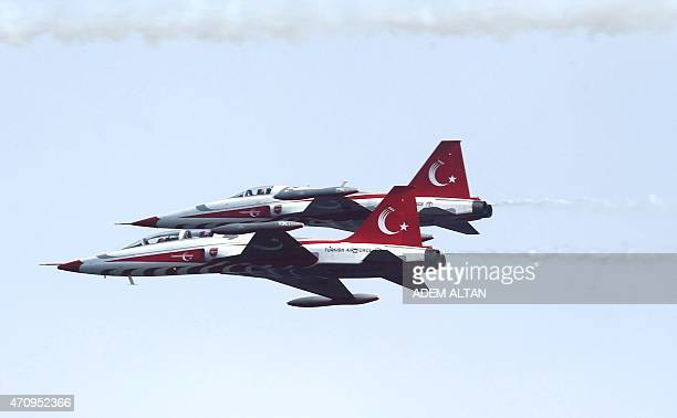 Turkish Air Force aerobatic demonstration team Turkish Stars fly their Northrop F5 Freedom Fighters during commemoration ceremony marking the 100th...
