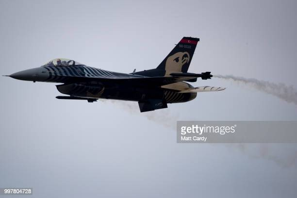 Turkish Air Force's F16 demonstration display performs at the Royal International Air Tattoo at RAF Fairford on July 13 2018 in Gloucestershire...