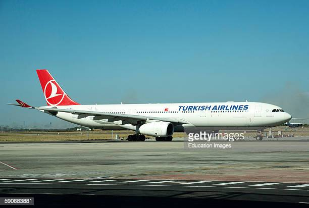 Turkish Airlines A330 Airbus on taxiway Cape Town International Airport South Africa