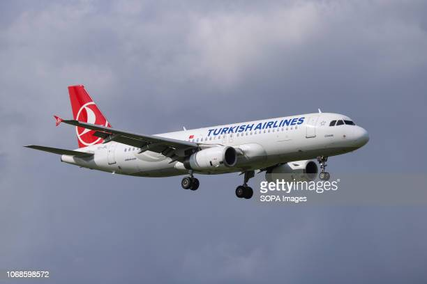 Turkish Airlines Airbus A320200 seen landing at the Amsterdam Schiphol International Airport in the Netherlands on a sunny day The aircraft is an...