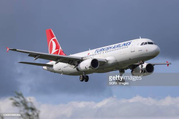 Turkish Airlines Airbus A320200 seen landing at the Amsterdam Schiphol International Airport in the Netherlands The aircraft is an Airbus A320232...