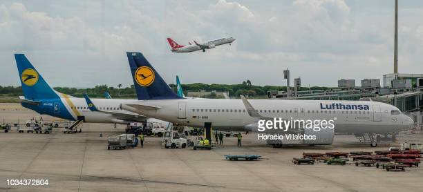 Turkish Airlines airplane takes off while Ukraine International and Lufthansa airplanes sit on the tarmac at Terminal 1 of Barcelona El Prat Airport...