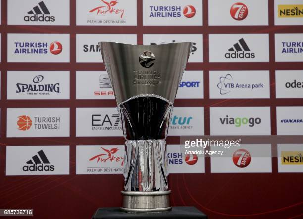 Turkish Airlines EuroLeague champions trophy is displayed during a media conference at Sinan Erdem Dome ahead of their grand finale game between...