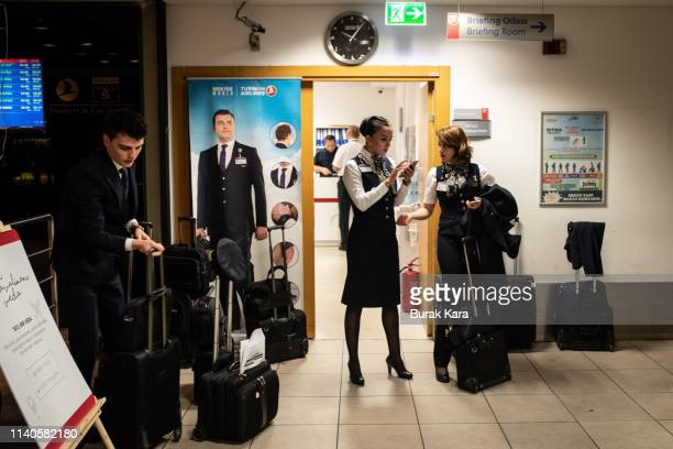 Turkish Airlines hostesses chat in Ataturk airports pilots lounge on April 04, 2019 in Istanbul, Turkey. Ataturk Airport was opened in 1953 and was...