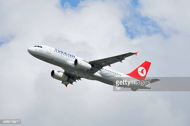 Turkish airlines plane taking off