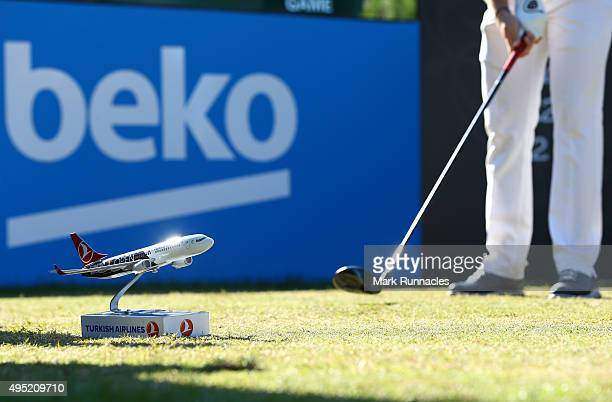 Turkish Airlines tee box marker on the 1st tee during the final round of the Turkish Airlines Open at The Montgomerie Maxx Royal Golf Club on...