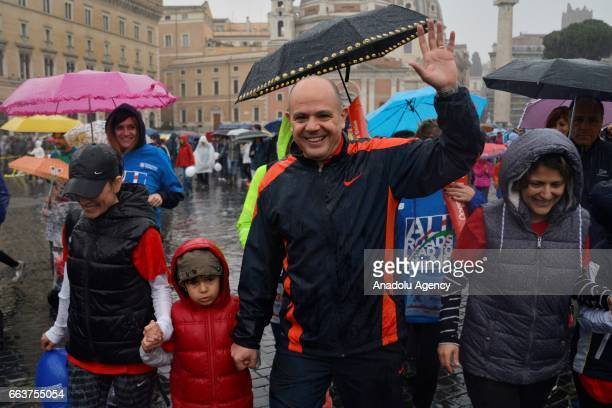 Turkish Ambassador Murat Salim Esenli and his family attend to the Rome Marathon, in Rome, Italy on April 02, 2017. The Rome Marathon is an annual...