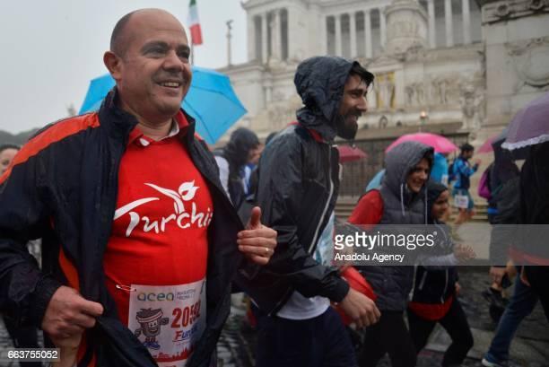 Turkish Ambassador Murat Salim Esenli attends to the Rome Marathon, in Rome, Italy on April 02, 2017. The Rome Marathon is an annual marathon...