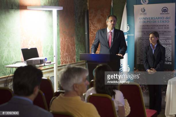 Turkish ambassador to the Holy See Mehmet Pacaci gives a speech as Yunus Emre Institute's director Sevim Aktas stands next to him during the...