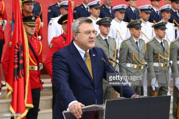 Turkish Ambassador to Tirana Murat Ahmet Yoruk makes a statement during a farewell ceremony of 66 Albanian soldiers who will depart to serve for six...