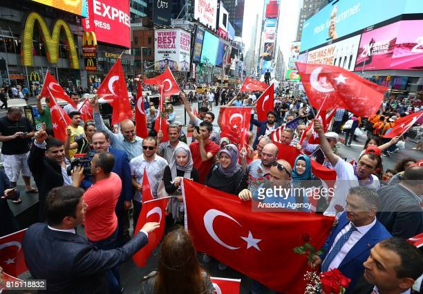 Turkish Americans gather on Turkey's July 15 Democracy and National Unity Day to mark July 15 defeated coup's 1st anniversary and commemorate its...