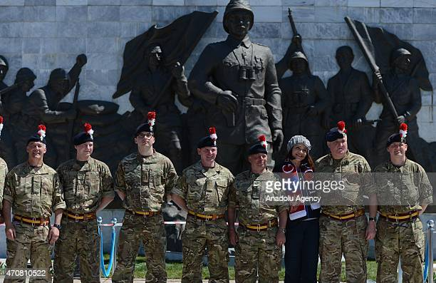 Turkish and foreign soldiers rehearse ahead of the 100th anniversary of the Canakkale Land Battles at the Canakkale Martyrs' Memorial on April 23...