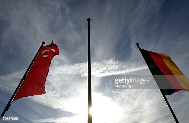 Turkish and German flags are seen in front of the KoelnArena prior to a speach of the Turkish Prime Minister Recep Tayyip Erdogan at the KoelnArena...