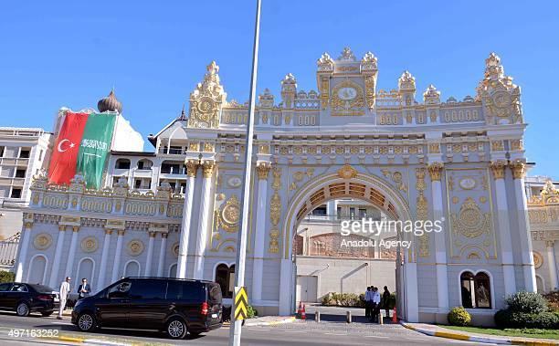 Turkish and Saudi Arabian flags are seen hung over the hotel where the Saudi King Salman bin Abdul Aziz Al Saud stays on November 14 2015 in Antalya...