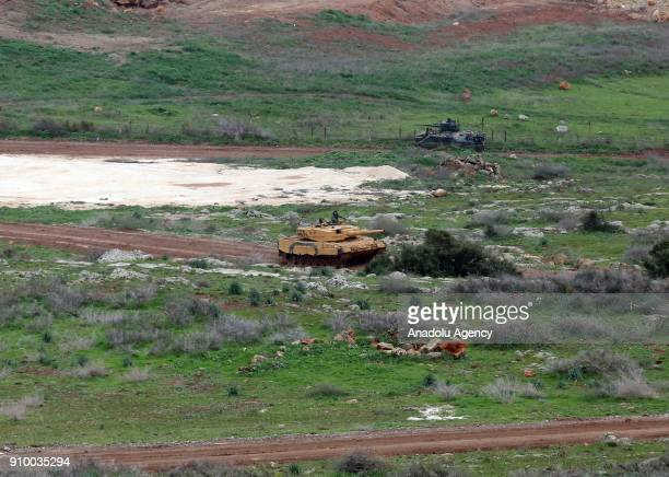 Turkish Armed Forces armoured vehicles are deployed within the 'Operation Olive Branch' against PYD/PKK in Afrin Aleppo Syria on January 25 2018...