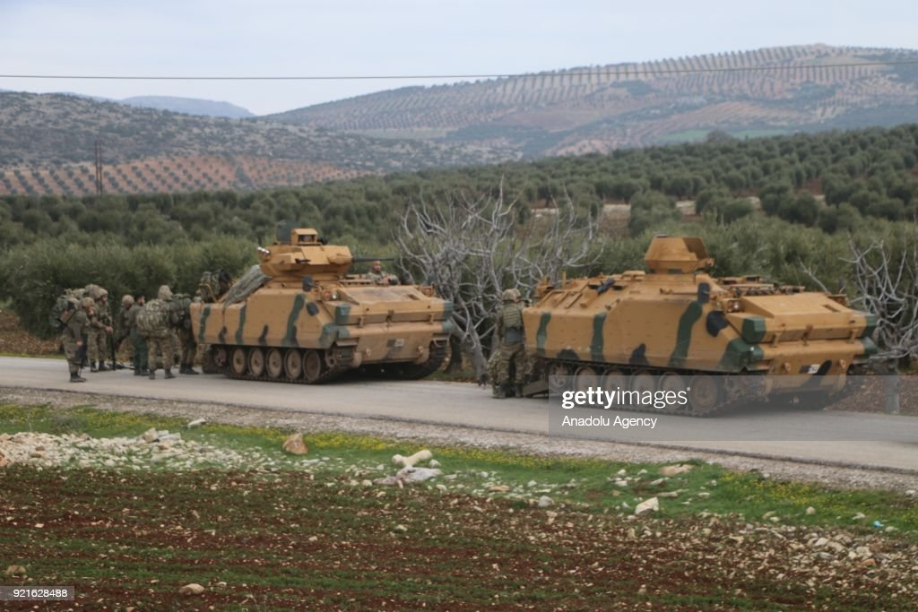 Turkish Armed Forces' military vehicles are seen as they cleared and ceased Syrian border line from PYD/PKK terrorists within the 'Operation Olive Branch' together with Turkish Armed Forces in Afrins Sharran district of Zaytuna village of Syria on February 20, 2018. Since the beginning of the operation, 78 different strategic areas have been captured from the clutches of terrorists. Turkey launched Operation Olive Branch on January 20 in Syrias northwestern Afrin region; the aim of the operation is to establish security and stability along Turkish borders and the region as well as to eliminate PKK/KCK/PYD-YPG and Daesh terror groups, and protect the Syrian people from the oppression and cruelty of terrorists.
