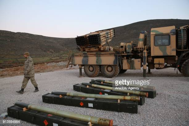 Turkish Armed Forces' rocket launchers are prepared for launching to hit PYD/PKK terror group targets within the 'Operation Olive Branch' launched in...