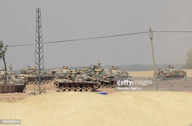 Turkish Armed Forces' tanks heavy artilleries and armored vehicles that were sent from Gaziantep's 5th Battalion are being deployed in southeastern...