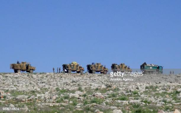 Turkish Armed Forces' vehicles are being transported under the Astana agreement to set up a ceasefire observation point in the deescalation zone of...