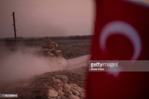 Turkish armored vehicle prepare to cross the border into Syria on October 09, 2019 in Akcakale, Turkey. The military action is part of a campaign to...