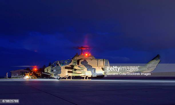 Turkish Army AH-1 Cobra helicopter on a night mission during Exercise Isik 2016, Konya, Turkey.