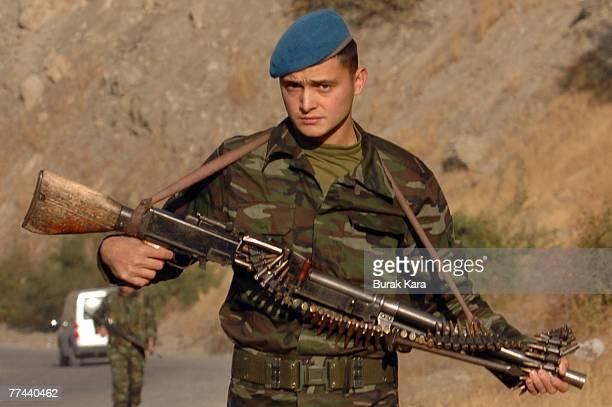 Turkish army commandos patrol on foot near Uludere on the TurkeyIraq border on October 22 2007 Sirnak Turkey Kurdish rebels ambushed a military unit...