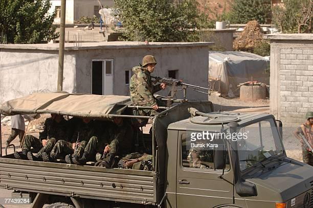 Turkish army convoy heads toward Sirnak on the TurkeyIraq border on October 22 2007 near Sirnak Turkey Kurdish rebels ambushed a military unit at the...