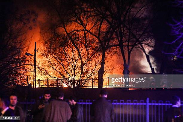 Turkish army service busses burn after an explosion on February 17 2016 in Ankara Turkey 21 people were killed and at least 61 are said to be wounded...