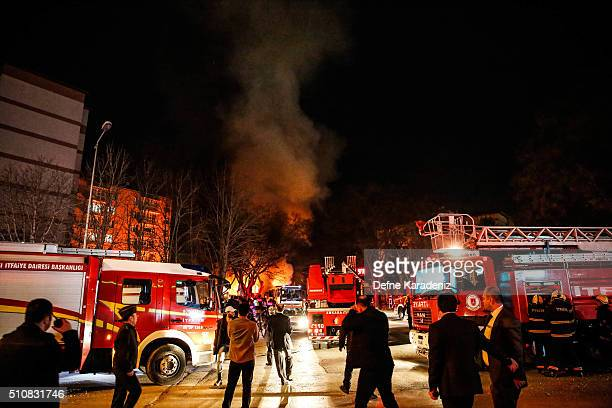 Turkish army service busses burn after an explosion on February 17 2016 in Ankara Turkey 21 people are believed to have been killed and at least 61...