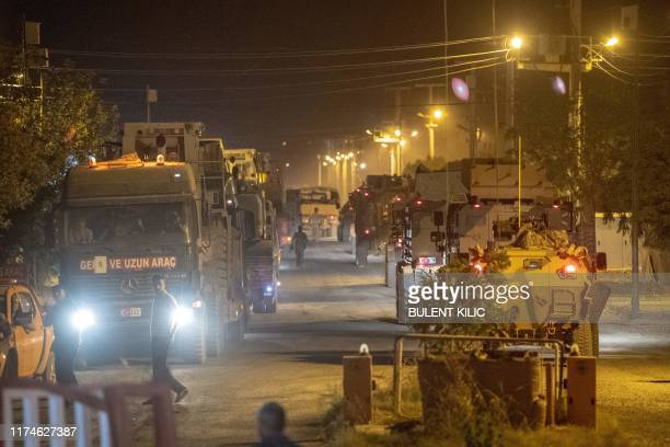 TOPSHOT Turkish army soldiers drive towards the border with Syria near Akcakale in Sanliurfa province on October 8 2019 Turkey said on October 8 it...
