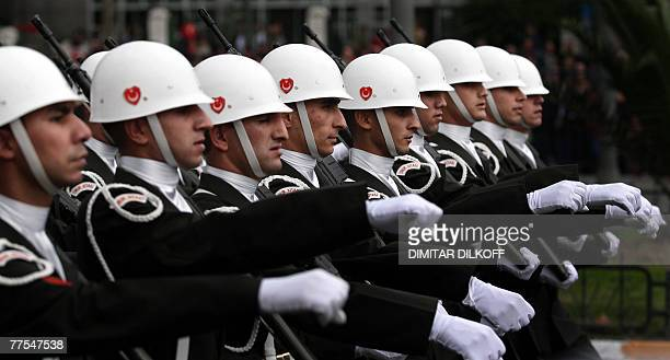 Turkish Army soldiers march during a military parade for the celebrations of the Republic Day in Istanbul 29 October 2007 The Turkish Republic...