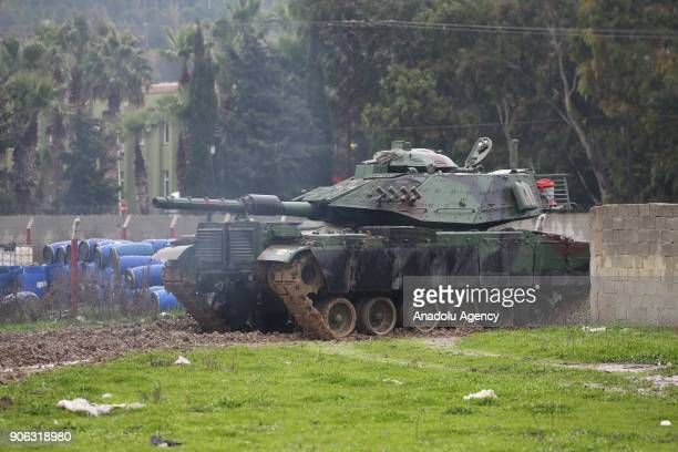 Turkish Army tank is seen after deployed to reinforce the border units in Antakya district of Hatay Turkey on January 18 2018