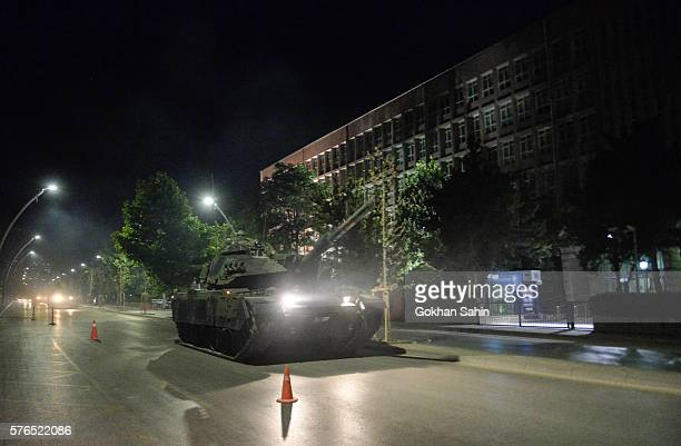 Turkish army tanks move in the main streets in the early morning hours of July 16 2016 in Ankara Turkey Istanbul's bridges across the Bosphorus the...