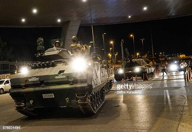 Turkish army's tank enter the Ataturk Airport on July 16 2016 in Istanbul Turkey Istanbul's bridges across the Bosphorus the strait separating the...