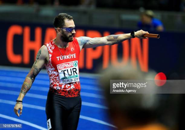 Turkish athlete Ramil Guliyev celebrates after winning the silver medal in men's 4x100m relay final during the 2018 European Athletics Championships...