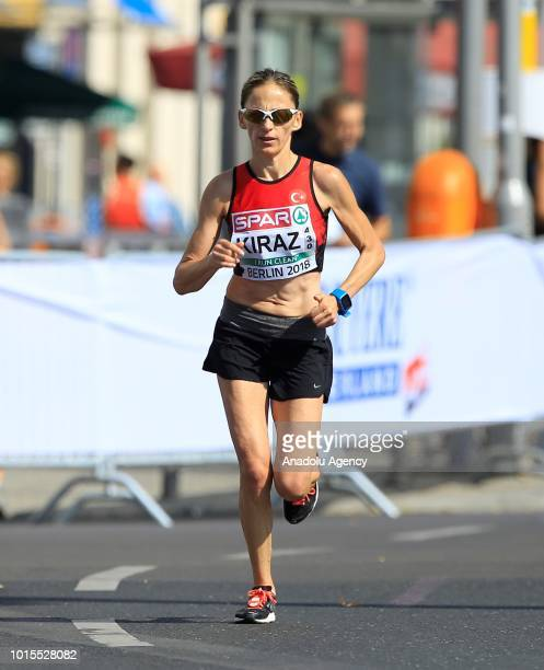 Turkish athlete Ummu Kiraz competes in the women's Marathon final race during the 2018 European Athletics Championships in Berlin Germany on August...