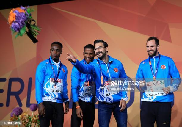Turkish athletes celebrate after winning the silver medal in men's 4x100m relay final during the 2018 European Athletics Championships in Berlin...