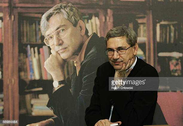 Turkish author Orhan Pamuk attends the Frankfurt Book Fair on October 22, 2005 in Frankfurt, Germany. Pamuk is this year's winner of the peace prize...