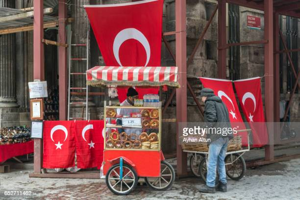 Turkish bagel and flag seller,Eminonu,Fatih District,Istanbul,Turkey