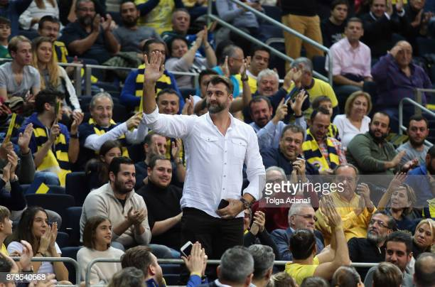 Turkish basketball player Mehmet Okur welcomes during the 2017/2018 Turkish Airlines EuroLeague Regular Season game between Fenerbahce Dogus Istanbul...