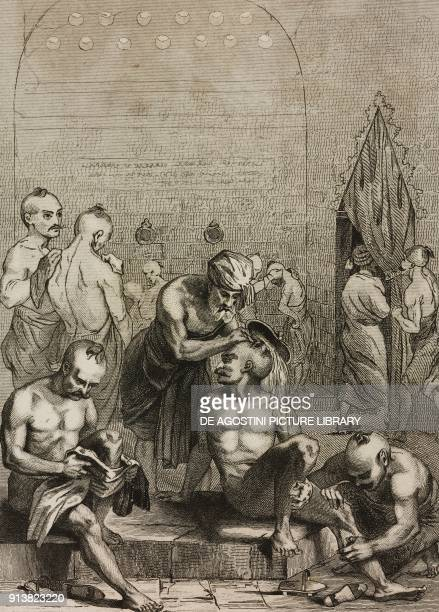 Turkish bath Turkey engraving by Lemaitre Lalaisse and Lafon from Turquie by Joseph Marie Jouannin and Jules Van Gaver L'Univers pittoresque Europe...