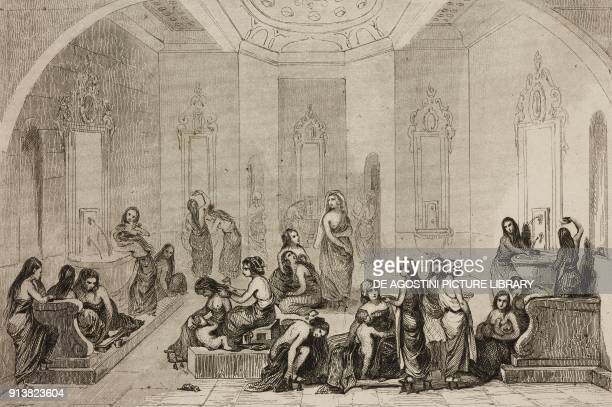 Turkish Baths for women Turkey engraving by Lemaitre Lalaisse and Chaillot from Turquie by Joseph Marie Jouannin and Jules Van Gaver L'Univers...