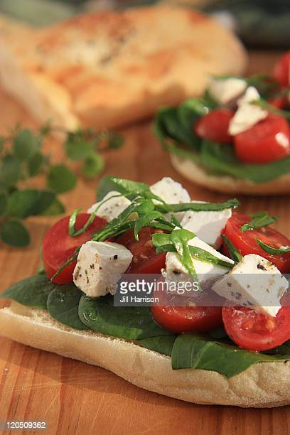 Turkish bread with tomatoes and feta