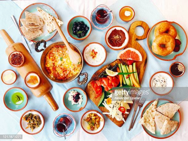 turkish breakfast on the table, high angle view - lunch photos et images de collection