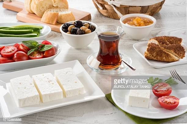 turkish breakfast table - feta cheese stock pictures, royalty-free photos & images